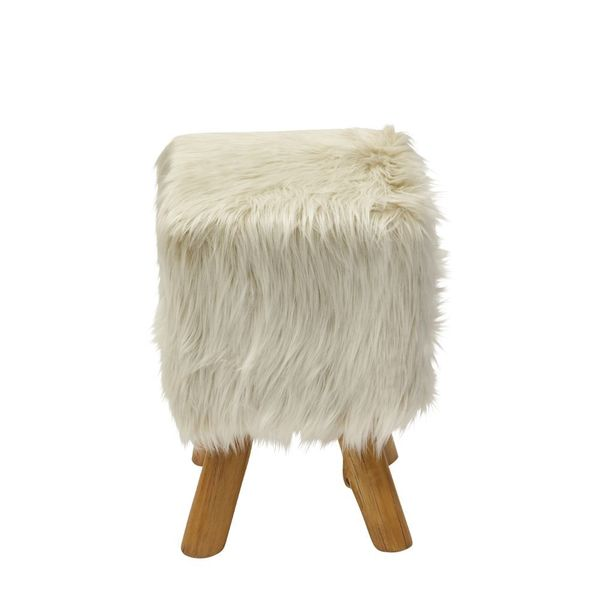 Cozy Wood Faux Fur Stool Beige Square