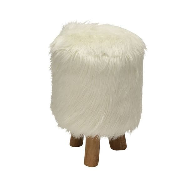 Comfortable Wood Faux Fur Stool White Round