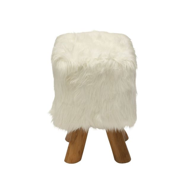 Soft Wood Faux Fur Stool White Square