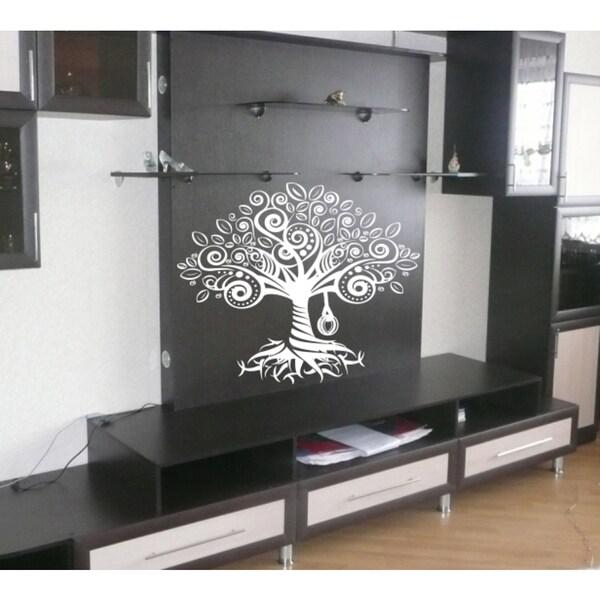 Tree fairy tale fabulous flowers Wall Art Sticker Decal White
