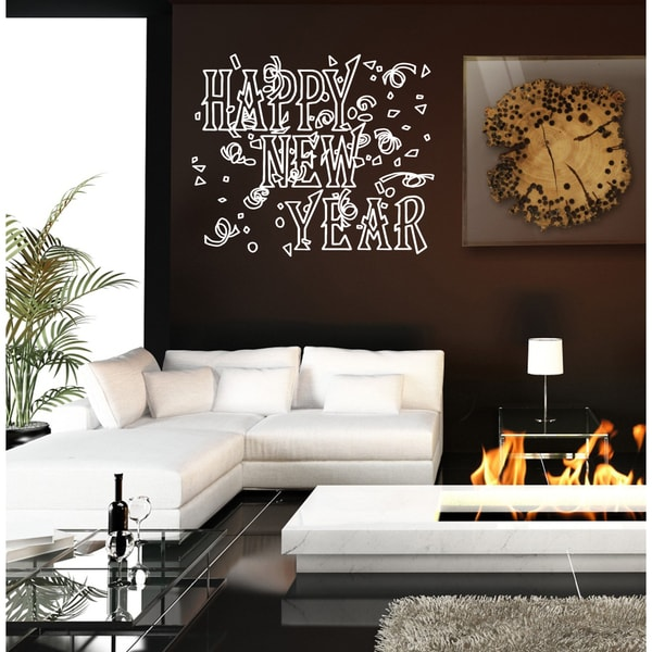 Christmas happy New Year Wall Art Sticker Decal White