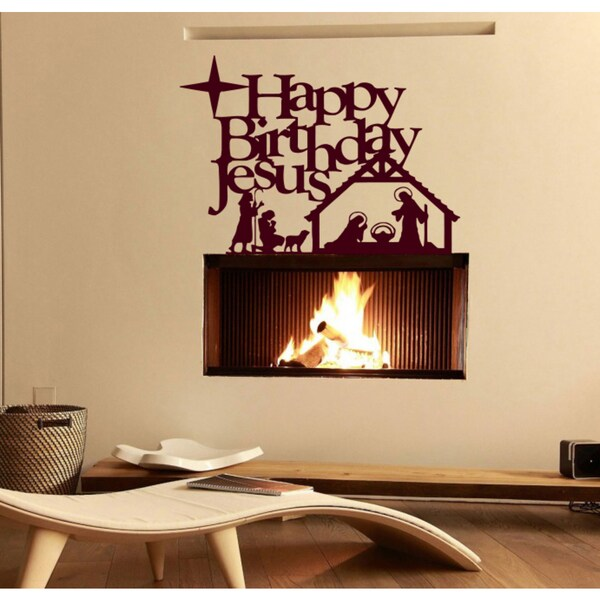 Happy Birthday Jesus Wall Art Sticker Decal Red