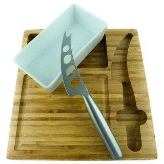 Red Vanilla Squared Slice Bamboo Cheese Board Set with Bowl and Cheese Knife