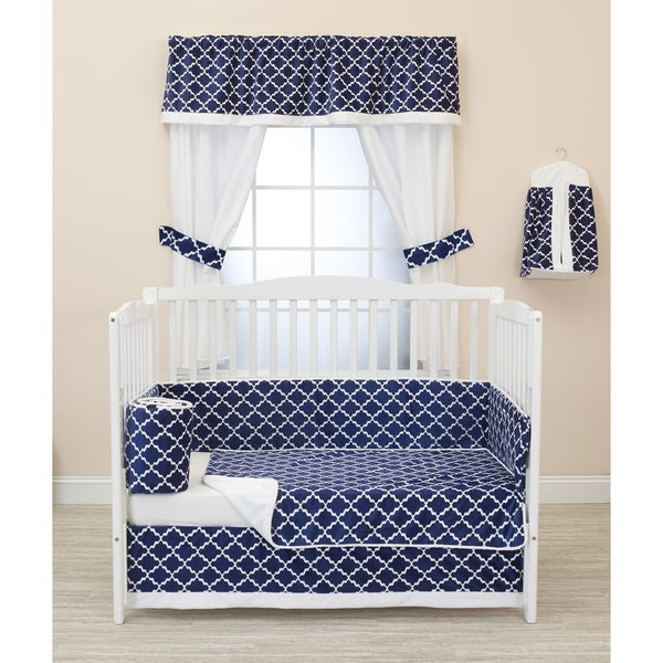 Baby Doll Navy/White Diamond Chic Crib Bedding Set