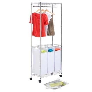 Honey Can Do LDYX05944 Triple Sorter Laundry Hamper with Garment Rack and 3-piece Mesh Laundry Bag Set