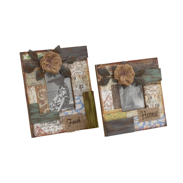 Floral Abstract Patterned Wood Photo Frame 2 Assorted