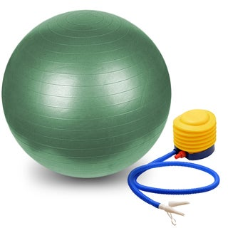 Pilates and Yoga Green Polymer 75-centimeter Burst-resistant Stability Ball with Pump
