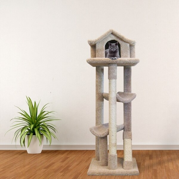 New Cat Condos Premier Sisal, Rope, and Wood Large Pagoda Cat Tree and Bed