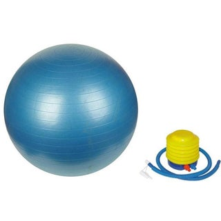Yoga and Pilates Blue 75-centimeter Burst Resistant Stability Ball With Pump