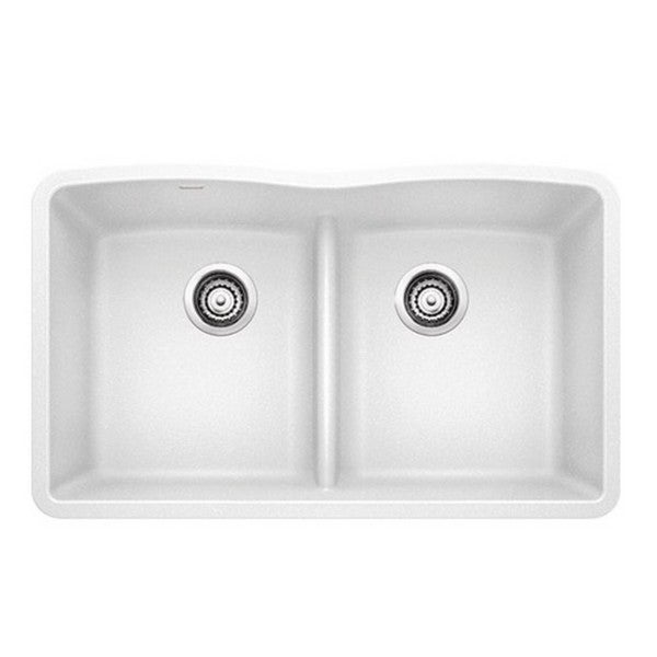 Blanco Diamond White Granite Equal Double Low Divide Undermount Sink