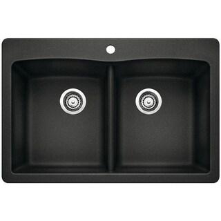 Blanco Diamond Silgranit II Black Granite Double-bowl Undermount Sink