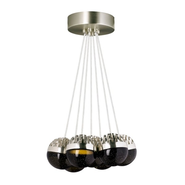 LBL Sphere 7 Light Satin Nickel and Cast Smoke Suspension