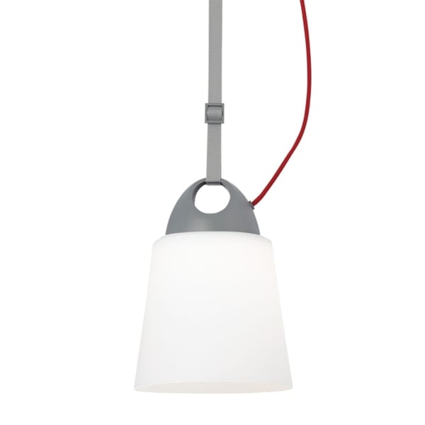 LBL Karif 1 Light Opal Charcoal Grey Red Cord Line-Voltage Pendant