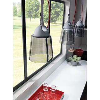 LBL Karif 1 Light Smoke Charcoal Grey Red Cord Line-Voltage Pendant