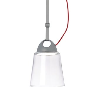 LBL Karif 1 Light Clear Charcoal Grey Red Cord Line-Voltage Pendant