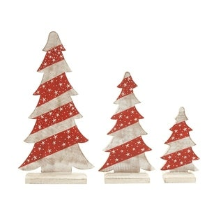 Set of 3 Wooden Carved Adorable Christmas Trees