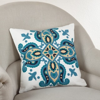 Crewel Work 17-inch Down Filled Throw Pillow