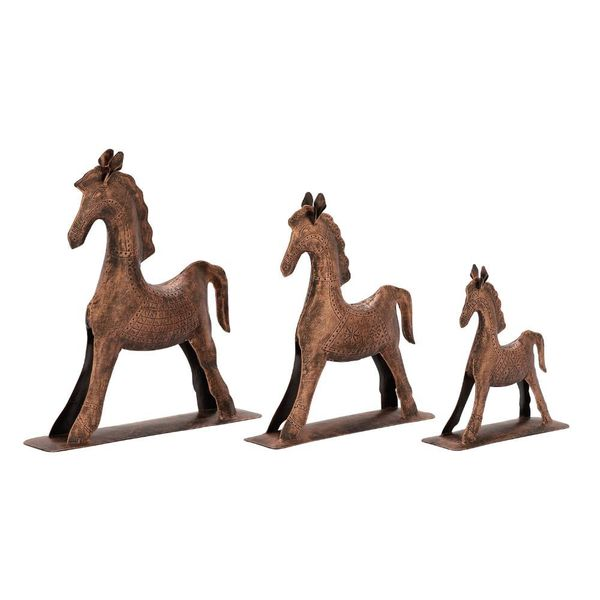Enticing Set Of Three Metal Bronze Horses 18642215