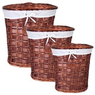 Benzara Chinese Inspired 3-Piece Oval Willow Hamper