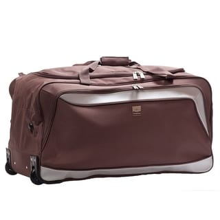 France Bag Rotterdam Blue/Brown/Red Polyester 21-inch Rolling Carry-on Duffel Bag