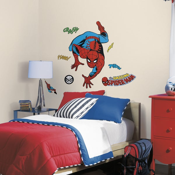 Classic Spider-Man Comic Red/Blue Peel and Stick Wall Decals 18642521