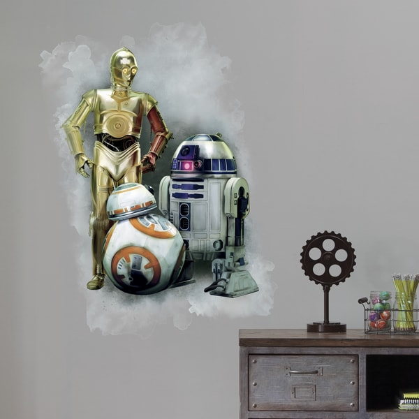 Star Wars The Force Awakens Ep VII R2D2, C3PO, BB-8 Peel and Stick Giant Wall Graphic