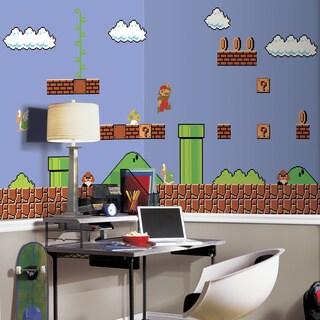 Super Mario Retro XL Ultra-strippable 6-foot x 10-foot-6 inch Prepasted Chair Rail Mural