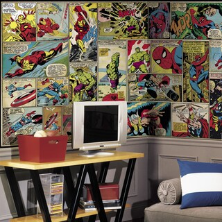 Marvel Comic XL Chair Rail Prepasted 6-foot x 10-foot-6-inch Ultra-strippable Mural