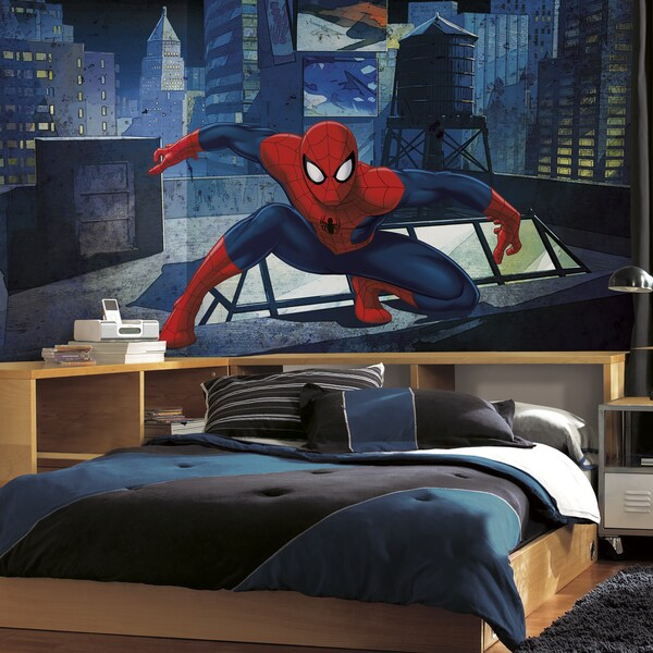 Ultimate Spiderman 6-foot x 10.5-foot CityScape XL Chair Rail Prepasted Mural 18642634