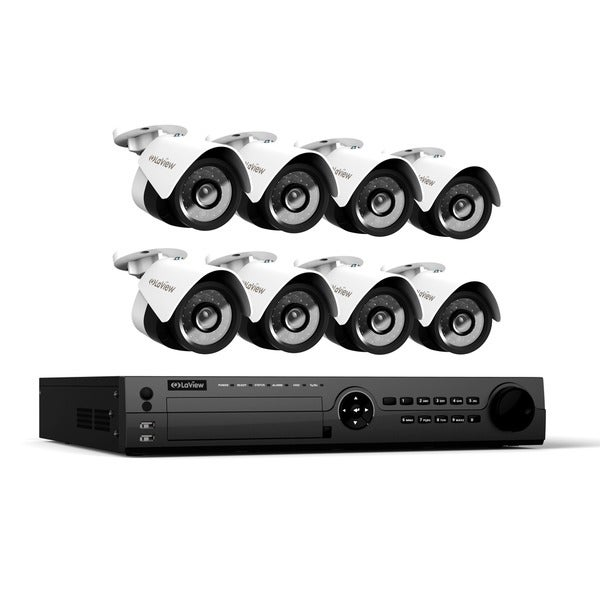 LaView 1080p IP NVR 16 Channel 6TB Hard Drive Video Security Surveillance System with 8 PoE 1080p IP Bullet Cameras