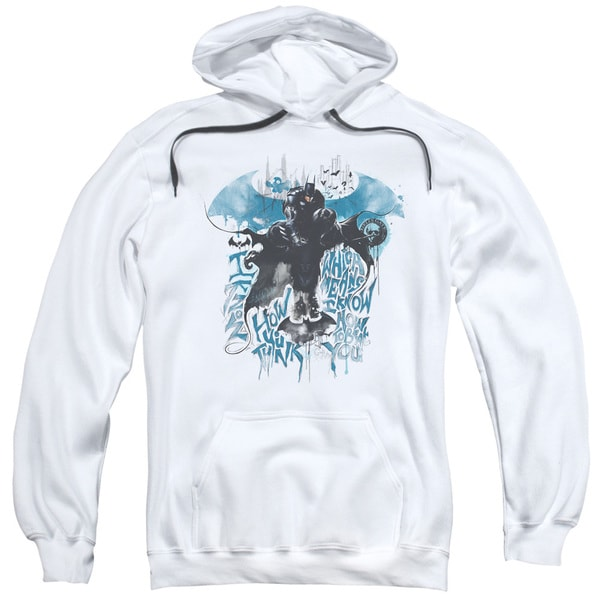Adult Batman Arkham Knight/I Know White Pullover Hoodie