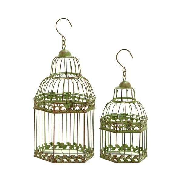 Birdcages In Gold Antique Polish Floral Pattern - (Set Of 2)