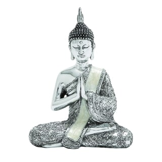 Poly Stone Sitting Buddha Assorted With Silver Finish