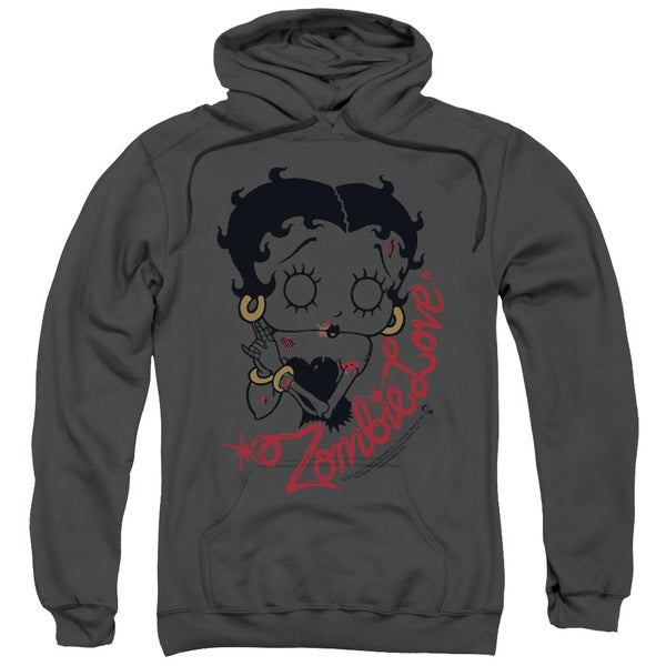Adult Betty Boop/Classic Zombie Charcoal Pullover Hoodie
