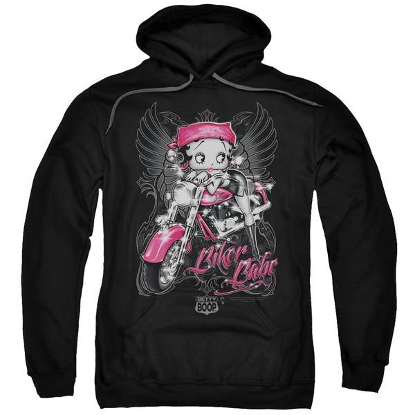Boop/Biker Babe Adult Black Pullover Hoodie
