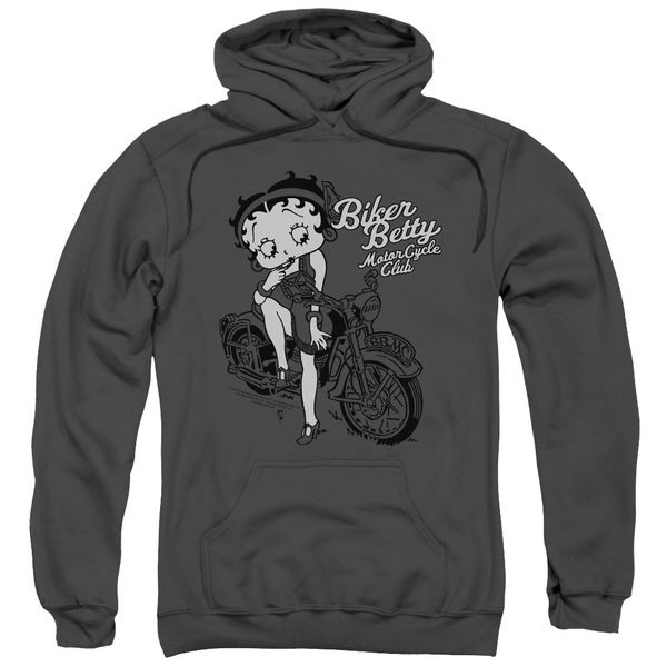 Boop Adult Biker Betty Motor Cycle Club Charcoal Cotton/Polyester Pullover Hoodie