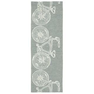 Indoor/ Outdoor Beachcomber Bicycle Grey Rug (2' x 6')