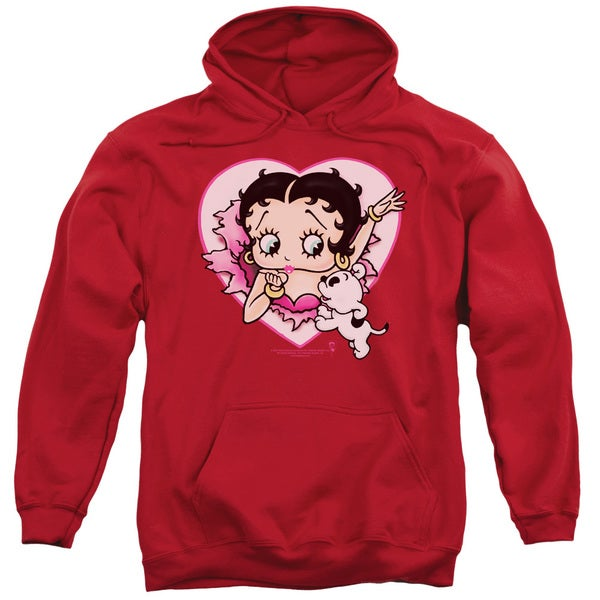Betty Boop Adult's 'I Love Betty' Red Cotton/Polyester Pullover Hoodie