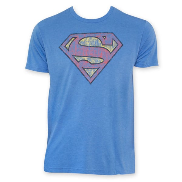 Superman Premium Quality Vintage Logo Blue Cotton T-Shirt