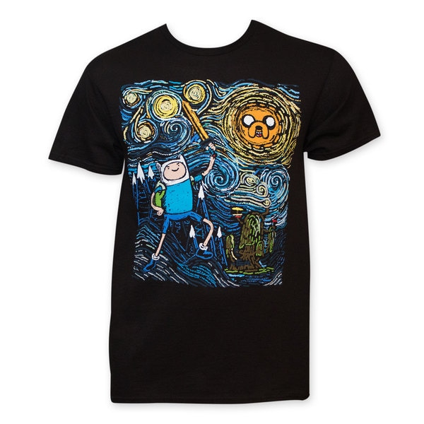 Adventure Time Men's Starry Night Black T-Shirt