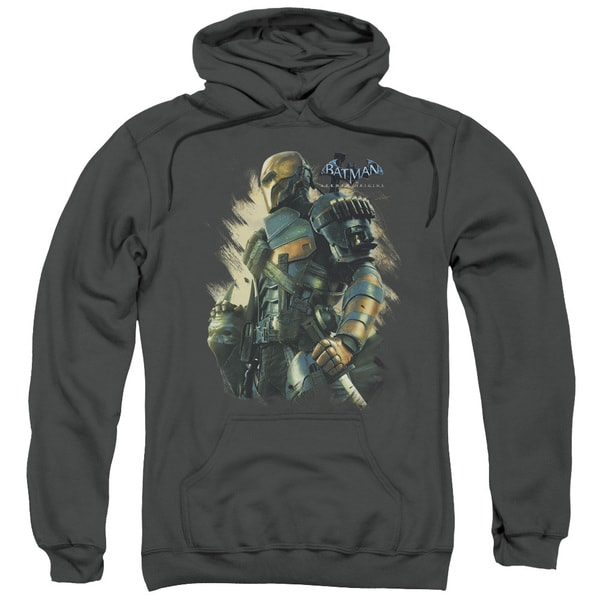 Batman Arkham Origins/Deathstroke Adult Pull-Over Hoodie in Charcoal