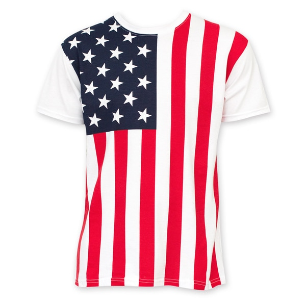 Men's White Cotton American Flag T-shirt