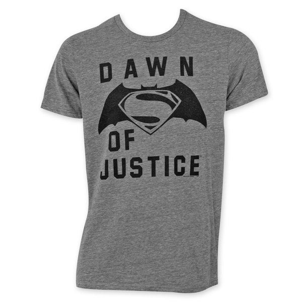 Junk Food Men's Batman V Superman Dawn Of Justice Grey Cotton Tee Shirt