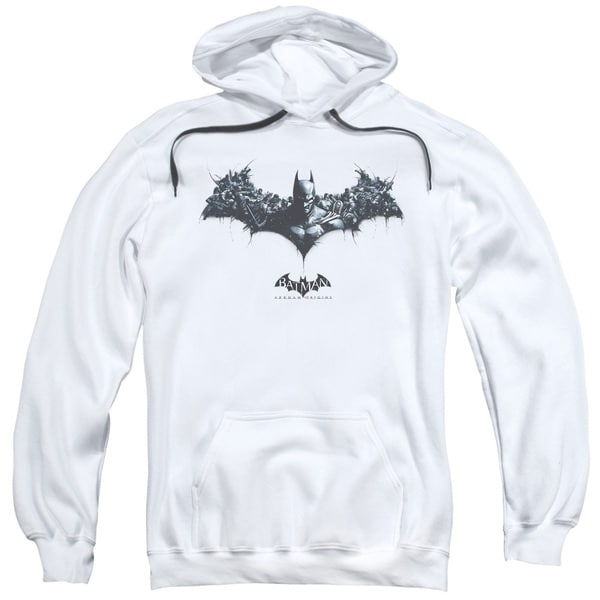 Adult White Batman Arkham Origins/Bat of Enemies Pullover Hoodie