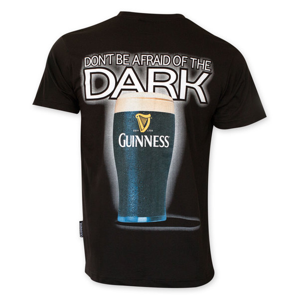 Guinness Men's Don't Be Afraid Of The Dark Black Cotton Tee Shirt