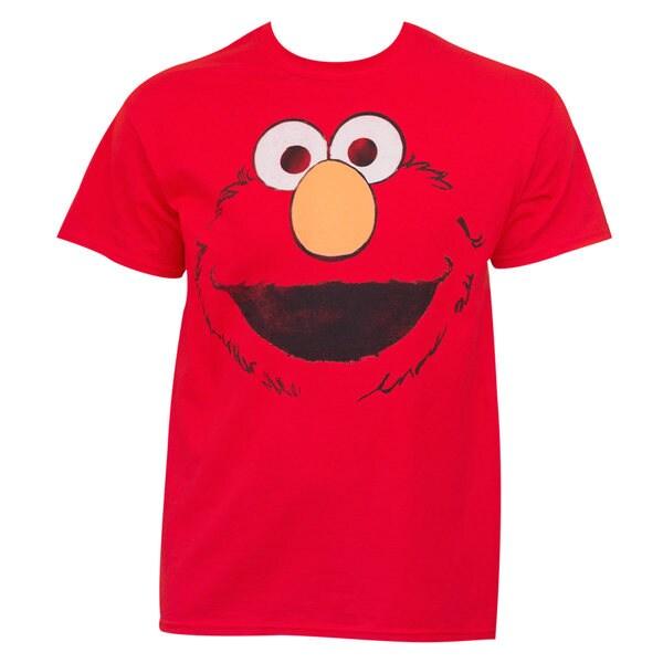 'Sesame Street' Men's Elmo Face Red Cotton T-shirt