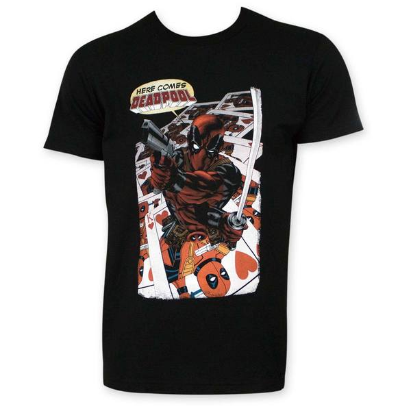 Men's Here Comes Deadpool Black T-shirt