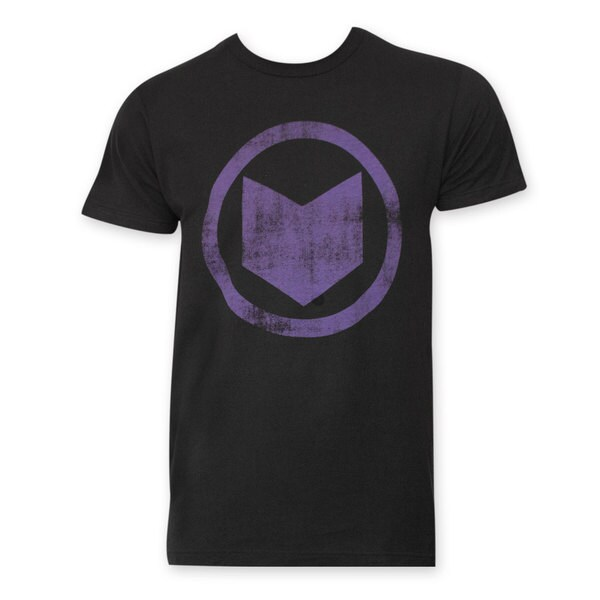 Men's Hawkeye Distressed Icon Black Cotton Tee Shirt