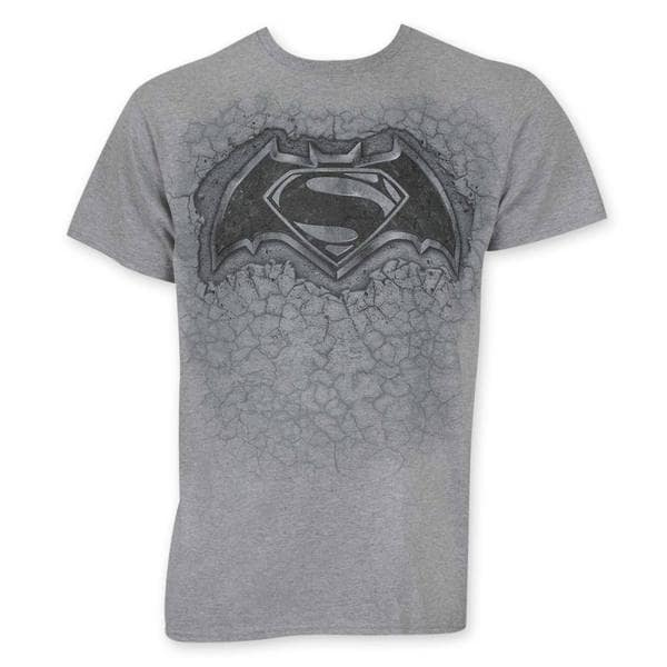 Batman V Superman Stone Logo Grey Cotton Tee Shirt