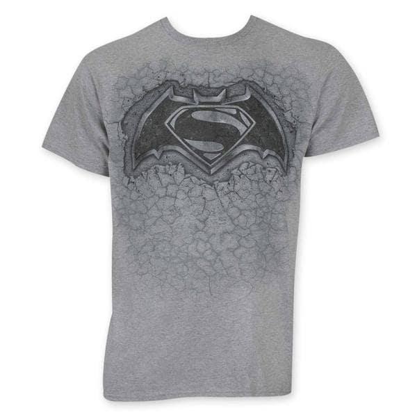 Batman V Superman Stone Logo Grey Cotton Tee Shirt